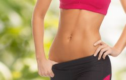 Woman trained abs Royalty Free Stock Photography