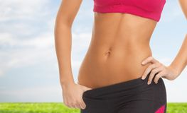 Woman trained abs Stock Photography