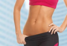 Woman trained abs Royalty Free Stock Image