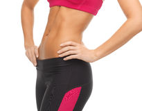 Woman trained abs. Close up picture of woman trained abs Royalty Free Stock Image