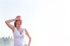 Woman trainig on the beach Stock Photo