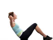 Woman training abdominals workout posture. Woman on floor Abdominals workout posture on white background Stock Photo