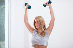 Woman training arm muscles. Horizontal view of woman training arm muscles royalty free stock photo