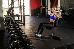 Woman training biceps and triceps with dumbbells on gym. Studio shot Royalty Free Stock Photos