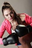 Woman training. Boxing. Royalty Free Stock Photo
