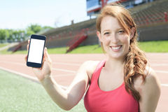 Woman training cellphone Stock Photos