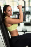 Woman Training Chest Exercises On A Butterfly Machine Stock Image