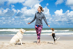 Woman training dogs. On the beach Stock Photo
