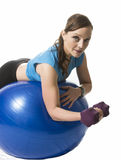 Woman training exercise ball Royalty Free Stock Photo