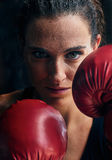 Woman training gym boxing mma ring shadow boxing mixed martial a Stock Image