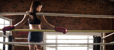 Woman training gym boxing mma ring shadow boxing mixed martial a. Rts fitness Royalty Free Stock Image