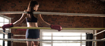 Woman training gym boxing mma ring shadow boxing mixed martial a stock images