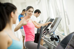 Woman training in the gym Stock Images