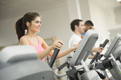 Woman training in the gym. Young women training on a cross trainer Stock Image