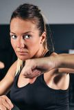 Woman training hard boxing in the gym Royalty Free Stock Images