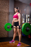 Woman with deadlift stock photo