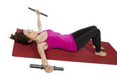 Woman training her arms during fitness Stock Image