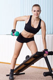 Woman training for muscle latissimus dorsi Royalty Free Stock Image