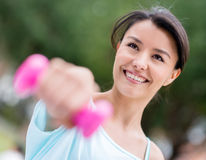 Woman training outdoors Royalty Free Stock Photography