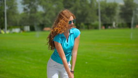 Woman training play golf stock video