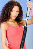 Woman training with power twister. Young handsome woman training with power twister Stock Images