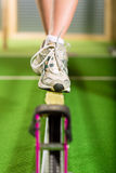 Woman training with slackline Royalty Free Stock Photo