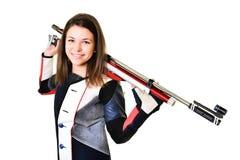 Woman training sport shooting with air rifle gun Royalty Free Stock Photos