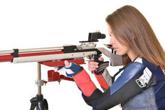 Woman training sport shooting with air rifle gun Royalty Free Stock Photo