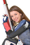 Woman training sport shooting with air rifle gun Stock Image