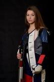 Woman training sport shooting with air rifle gun Stock Photo