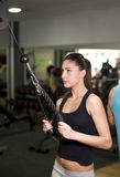 Woman training triceps muscle at gym Royalty Free Stock Photography