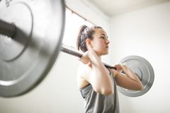 Woman training with weight bar stock image