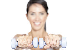 Woman training with weights Stock Image