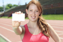 Woman training white card Stock Photo