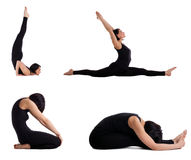 Woman training yoga - pose collection isolated Royalty Free Stock Images