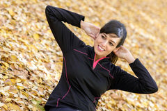Woman trainning abs Stock Photos