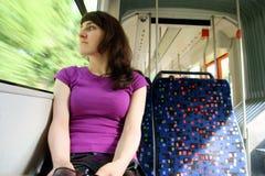 Woman in tram, trolley, streetcar, tramway, Stock Image