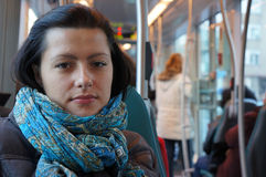 Woman in tram Royalty Free Stock Images