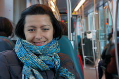 Woman in tram Stock Photos