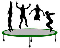 Woman trampoline Stock Images