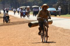 Woman transporting carpet on bicycle Stock Photography
