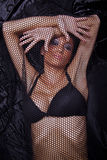 Woman Traped In Black Fishnet Stock Photos