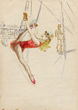Woman on a trapeze. Topic: gymnastics and circus performance. Full-sized (original) hand drawing. Technique: digital tablet vector illustration