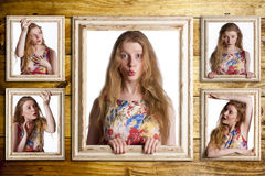 Woman trapped in frames. Stock Photos