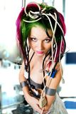 Woman trapped in wires Stock Photography