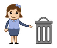 Woman With a Trash Bin Royalty Free Stock Images