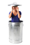 Woman In Trash Can With Binoculars Stock Photography