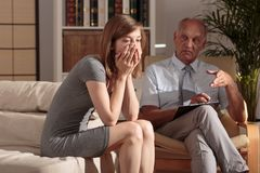 Woman with trauma. Image of women with trauma on psychological consultation Stock Photography
