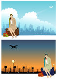Woman on travel at the airport. Royalty Free Stock Photo