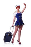 Woman travel attendant with suitcase. On white Royalty Free Stock Photography